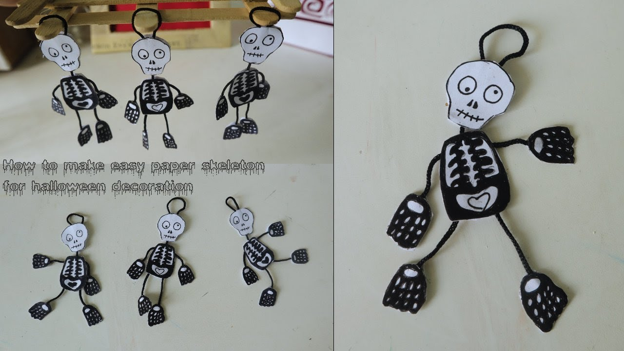 How to make easy paper skeleton for halloween decoration ...