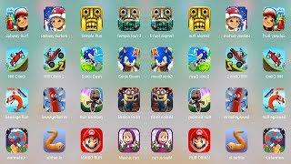 Minion Run,Hill Climb Racing 2,TempleRun,RunSackboy,Sausaga,Sonic,Masha,Subway Surf,Mario,Slither.io