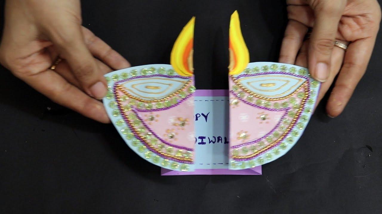 how to make diwali greeting card  jk arts 1644  youtube