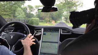 A sudden jolt — reminiscent of taking off in a jet — is the only sign from the backseat of the Tesla S P85D that the car has gone from a complete stop to 60 mph in a mere three seconds. John Glenney of Lexington drives this all-electric car. And now, thanks to a new Tesla charging station in Lexington, he can fill it up with electricity locally.  Video by Hannah Scheller.