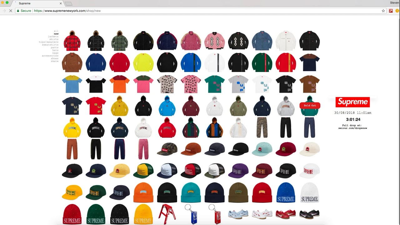 Supreme Sell Out Times 8 30 - YouTube 5f591d80472