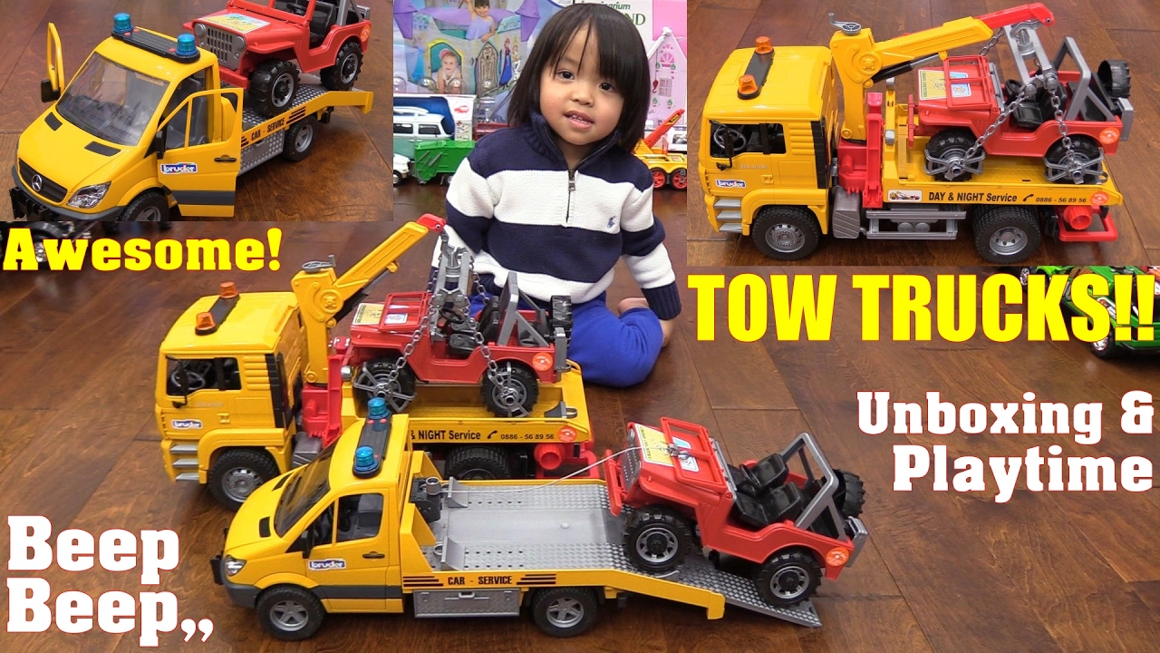 Flatbed Tow Truck >> Kids' Toy Truck Review: Bruder Flatbed Tow Trucks Unboxing ...