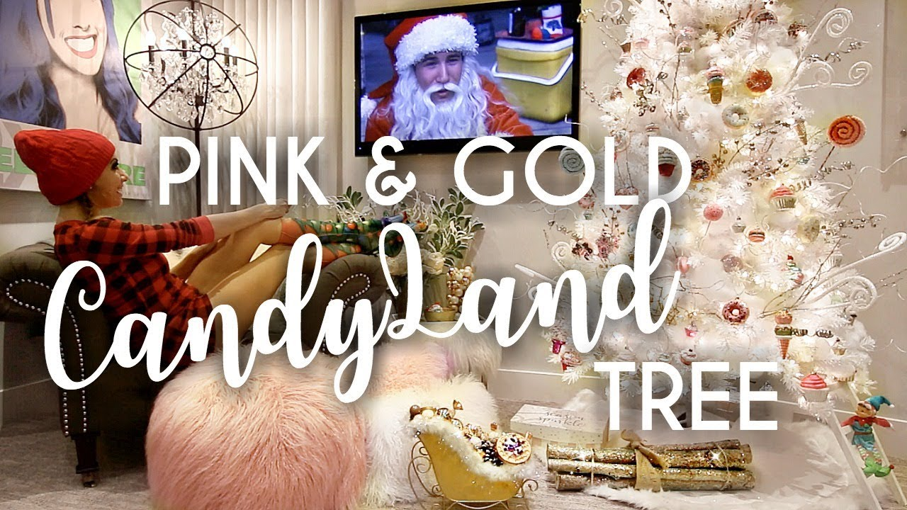 pink gold candyland christmas tree