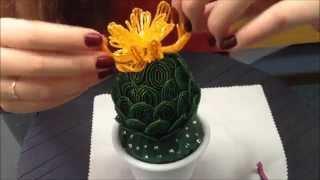 КАКТУС ИЗ БИСЕРА С ОРАНЖЕВЫМ ЦВЕТКОМ. Beaded cactus.