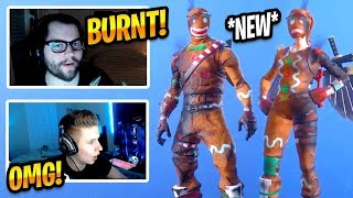 STREAMERS REACT TO NEW BURNT MERRY MARAUDER & GINGER GUNNER SKINS - Fortnite Best & Funny Moments