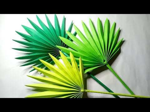 DIY FAN PALM LEAVES PAPER CRAFTS TUTORIAL