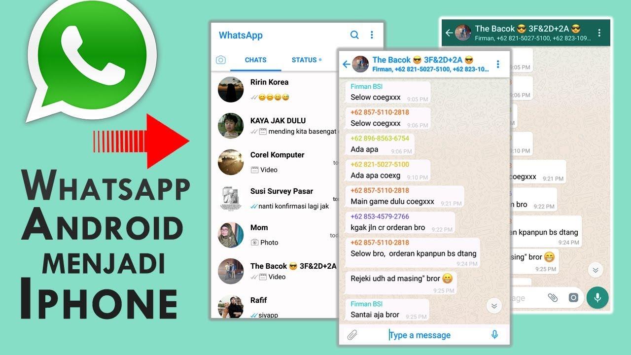 Rahasia Cara Mengubah Tampilan Whatsapp Android Menjadi Iphone Youtube