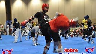 Taekwondo training. Choice reaction and tremendous sparring