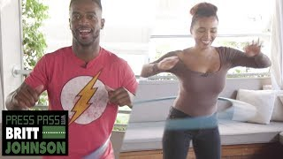 NFL WR Dontrelle Inman FACES OFF Against Britt Johnson In EPIC Hula Hoop Challenge! | Press Pass