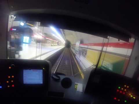 Helsinki metro. Ruoholahti-Mellunmäki. Kuljettajan näkymä. Drivers view. Part 1/3.