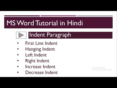 Indent mean   Indent Paragraph in MS Word in Hindi   MS Word 2016   Part-80