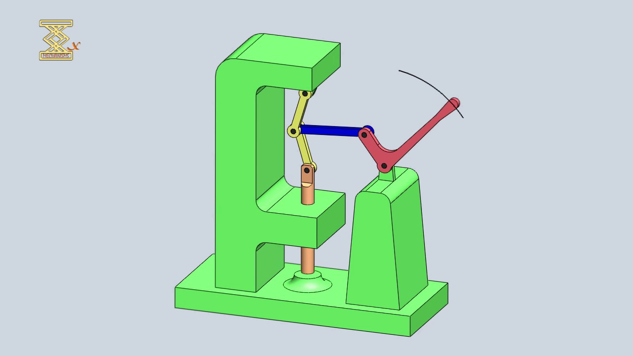 Mechanism Wheel Lever : Slider crank mechanism of a hand operated press toggle