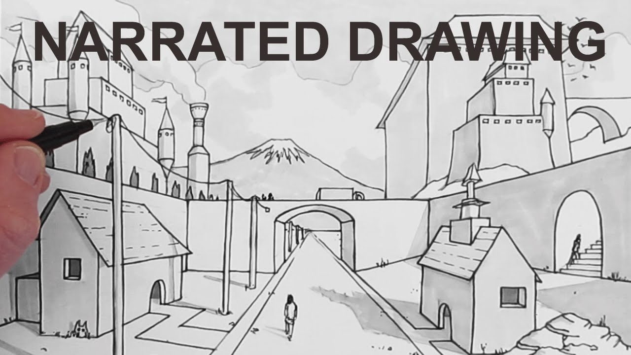 How to Draw a Background Scene in Perspective: Narrated - YouTube