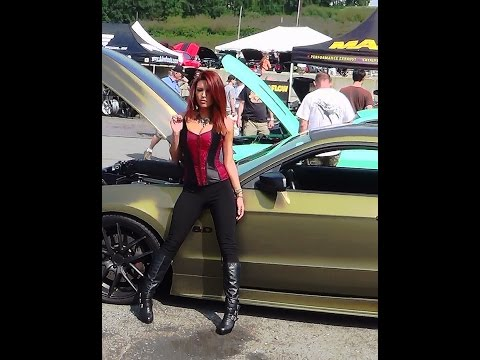 Hot model at american muscle  6th mustang show 8-16-14