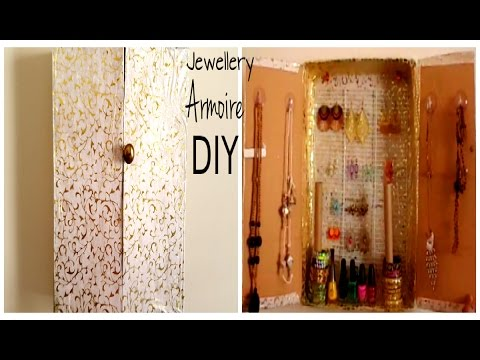Jewellery Armoire/holder DIY |Cardboard box recycle idea |Best out of waste