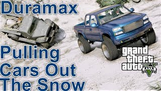 GTA 5 REAL LIFE MOD #92 2006 Chevy Silverado Rescuing Cars Stuck In Snow