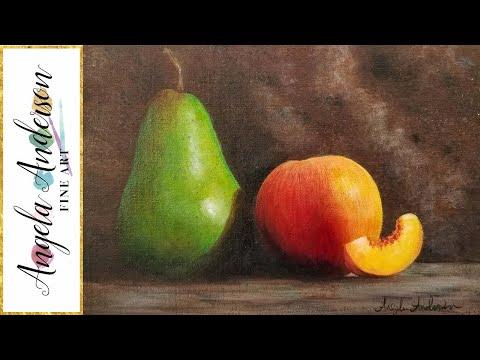 Pear & Peach Still Life LIVE Acrylic Painting Tutorial