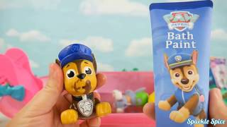 Rainbow color learning with paw patrol paint