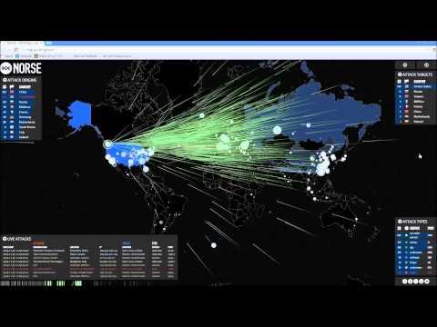 Botnet / DDoS Attack - Norse Live Footage - Nov 29 [1080p]