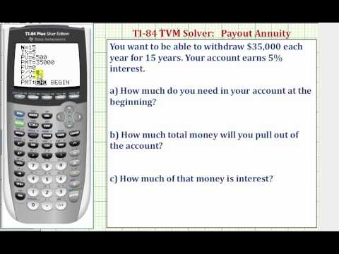 TI84 TVM Solver - Find Present Value of an Payout Annuity