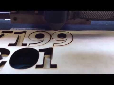 Chinese 40w laser cutting letters out of 5/16 (8mm) Solid Cherry