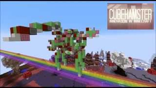 Pink Fluffy Robot Unicorn Dancing on Rainbows in Minecraft