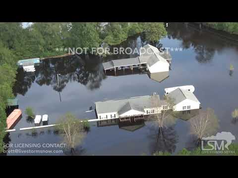 9 17 18 Chinquapin, NC Helicopter Aerials Of Devastating Flooding