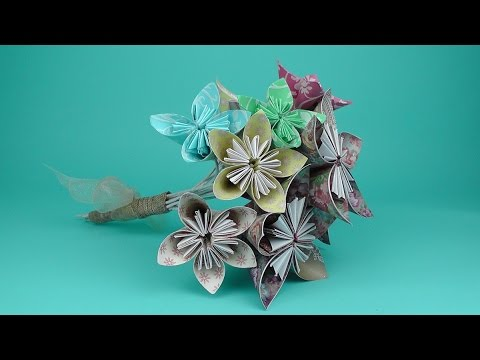 How To Make An Origami Flower Bridal Bouquet Tutorial Wedding Diy