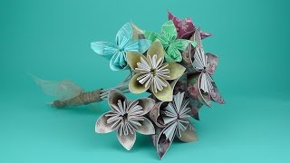How to make an origami flower bridal bouquet tutorial - Wedding DIY