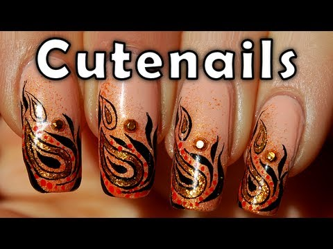 Nail art design : Ethnic gold & orange by cute nails - YouTube