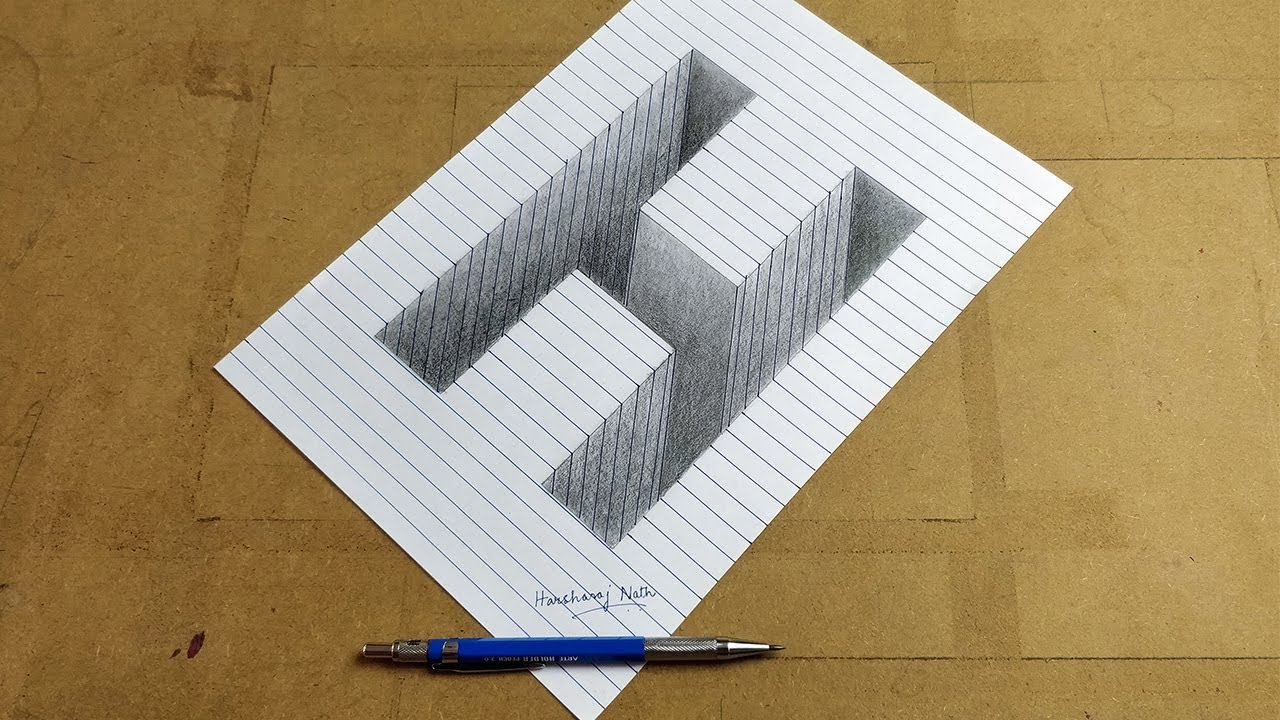 Drawing letter h 3d pencil drawing line paper
