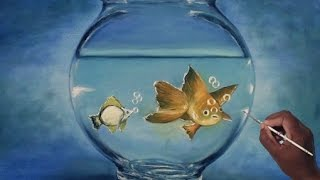 how to draw oil painting, a realistic fish aquarium  - With Dilip Art
