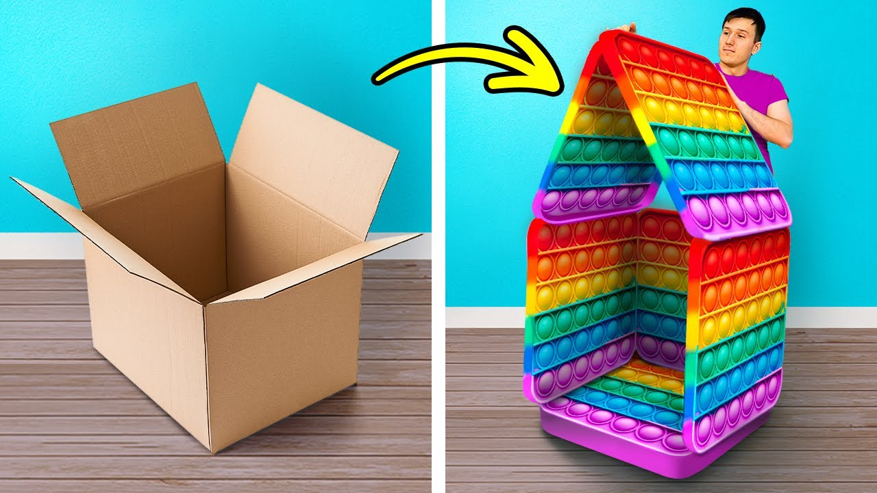 RAINBOW POP IT PLAYHOUSE || Cool Cardboard DIY Crafts And Cheap Room Decor Ideas For Cozy Home