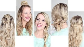 Five Easy 1 min Hairstyles | Cute Girls Hairstyles