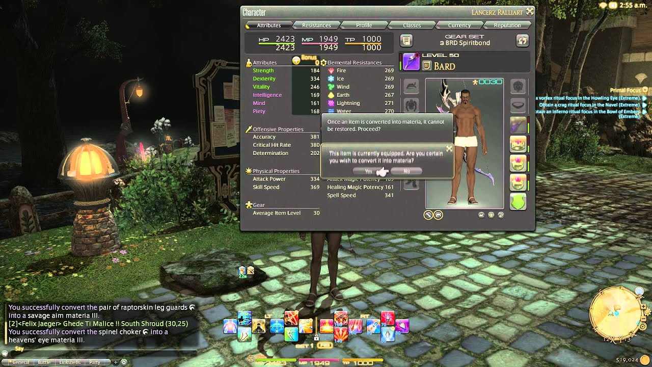 FFXIV: Converting gear into materia and hoping for some Tier IV materia