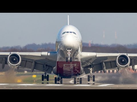 AIRBUS A380 CROSSWIND DEPARTURE at Düsseldorf + 10 Crosswind Landings (4K)