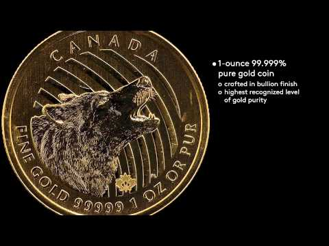 "Bullion 1-ounce 99999 Pure Gold ""Howling Wolf"""