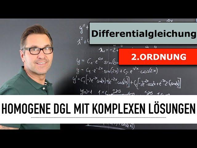 Wie löse ich eine homogene Differentialgleichung 2. Ordnung? | komplexe homogene Lösung | DGL