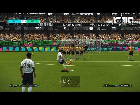 FIGO & Team Legends vs RONALDINHO & Team Legends | Free Kick Goal | Penalty shootout | PES 2018