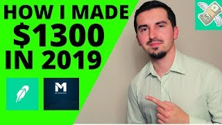 How I Made $1300 Investing In Growth, Dividend Stocks  On M1 Finance & Robinhood | 2019 Recap |