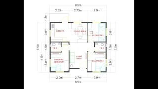 3 Bedrooms Small House Design For 10x10 Meters  100sqm  Lot  Flr Area 8.5x7.5 M  64 Sqm