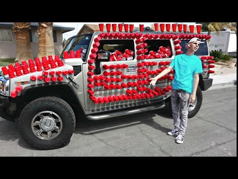 10,000 RED CUPS ON CAR PRANK!!!