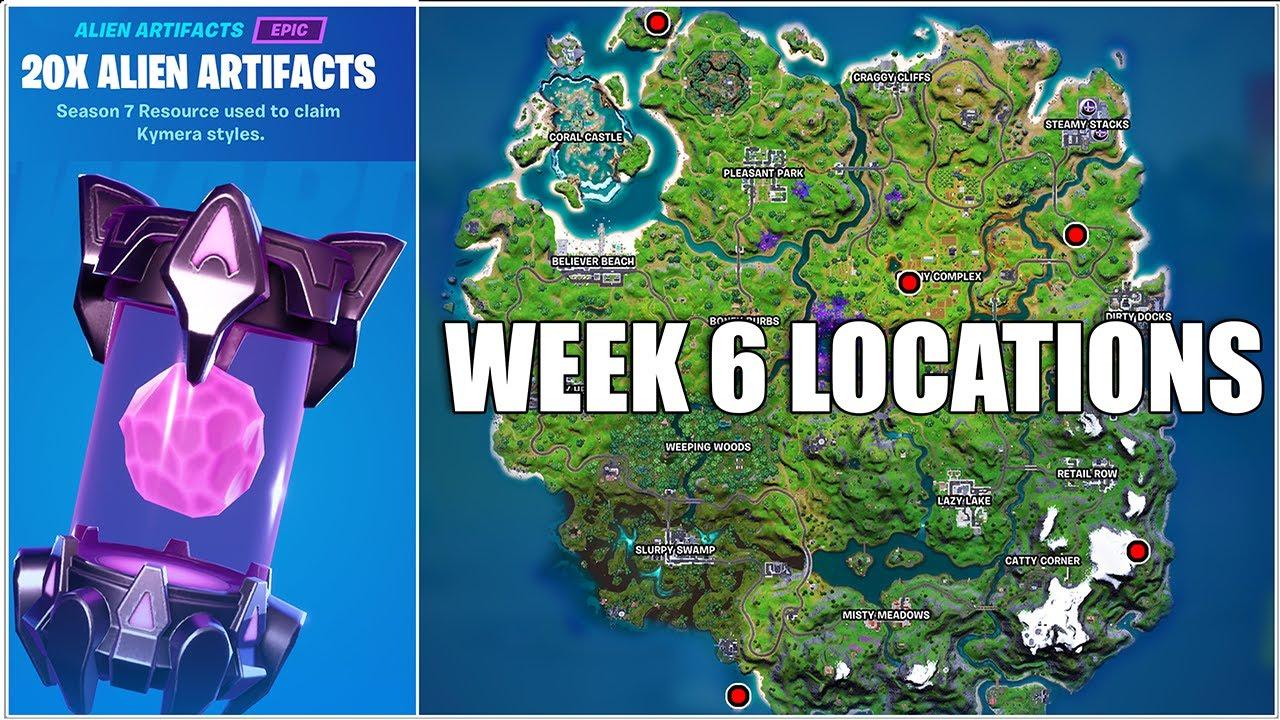 Fortnite, All Week 6 Alien Artifacts Locations (Chapter 2 Season 7)