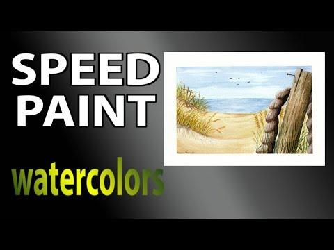 Sandy beach in watercolors