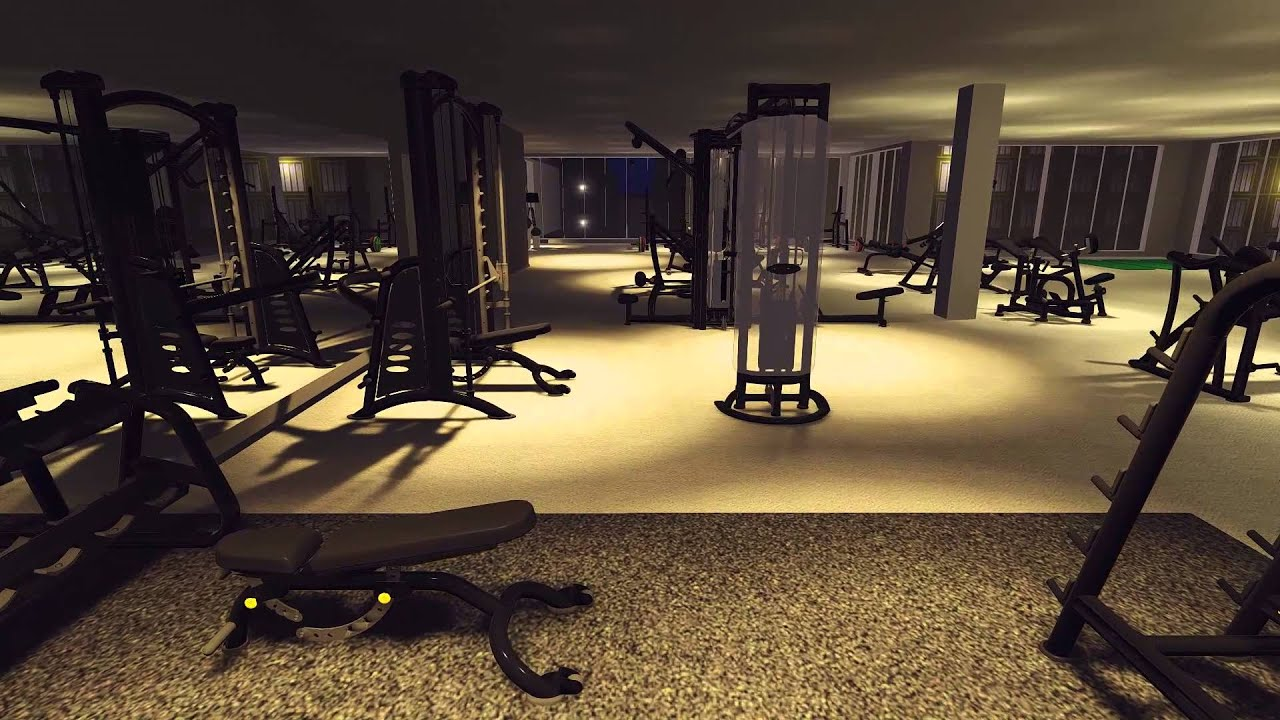 3d gym design walkthrough youtube