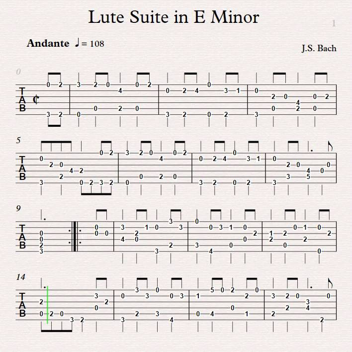 J S Bach Lute Suite In E Minor Tab