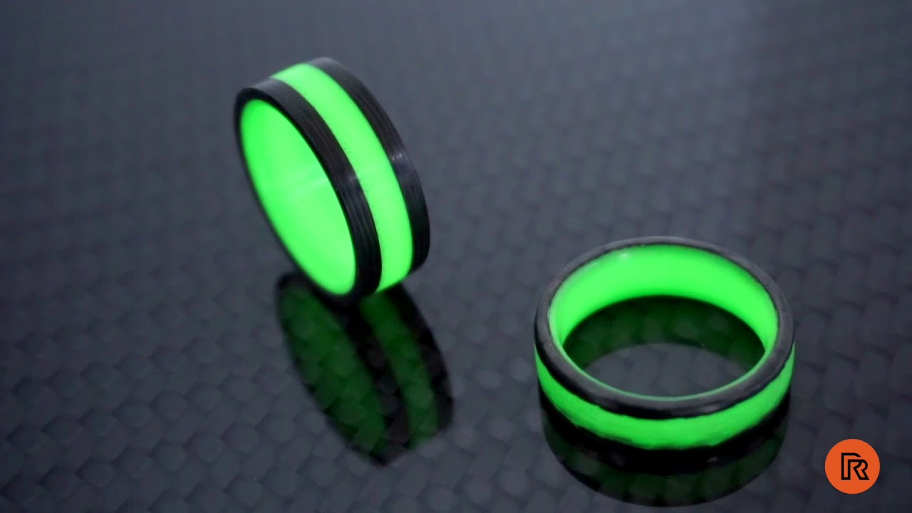 wedding the glow on in glowing lume pin titanium dark by rings carbon engagement fiber