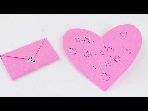 Herz Umschlag für kleine Briefe falten | Super einfache Anleitung für Kinder