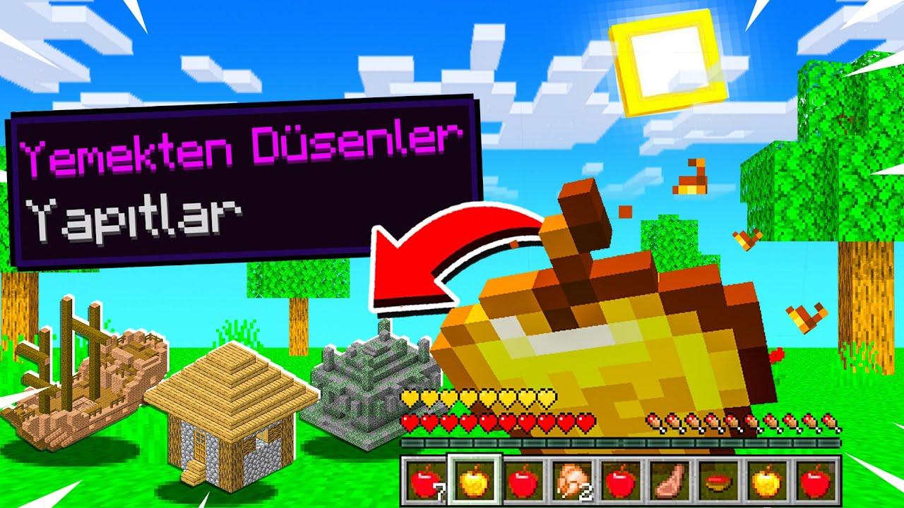 MİNECRAFT'ta TEK YEMEKTEN YAPI ÇIKIYOR - Minecraft