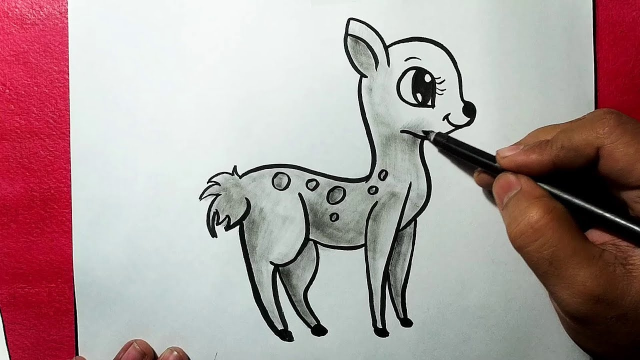 Beautiful Simple Line Art : How to draw a beautiful deer simple line drawing of